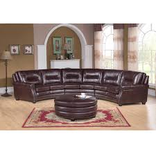 Red Curved Sofa by Red Brick Leather Sectional Sofa With Cushions Laid On Natural Ash