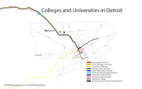 Michigan State University Map by Map Colleges And Universities In Detroit Detroitography