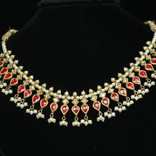 gold necklace india images 22kt gold ruby necklace studded with diamonds traditional gold jpg