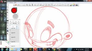 speed art quick cartoon head sketch in sketchbook on a samsung pc
