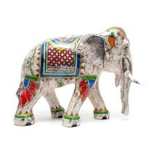 inlaid mother of pearl royal white elephant statue 8 inch