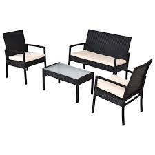 Sofa Set Table 4 Pcs Outdoor Patio Furniture Set Table Chair Sofa Cushioned Seat