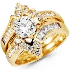 14k gold wedding ring sets 14k yellow gold center cz wedding ring set at jewelryvortex