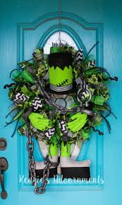 halloween door garland frankenstein wreath monster wreath frankenstein decor halloween