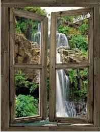 stylish wall waterfalloutdoor waterfall kits indoor uk sewuka co waterfall cabin window 4 peel stick 1 piece canvas wall muralindoor canada indoor fountain