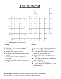 rainforest crossword puzzle have fun teaching