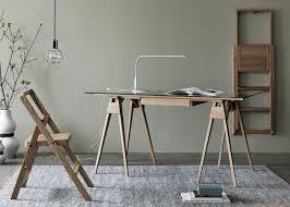 Schreibtisch Holz Mit Schubladen Arco Schreibtisch Aus Holz Glasplatte 150 X 75 Cm Mit Schublade