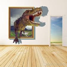 new arrival 3d cartoon dinosaur out of the frame wall decor