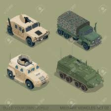military transport vehicles flat 3d isometric high quality military road transport icon set