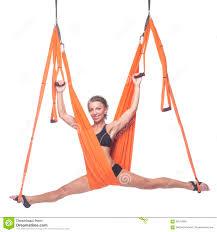 yoga in hammock sky yoga fly yoga antigravity stock image