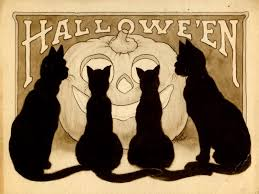 halloween background cat and pumpkin vintage halloween wallpaper