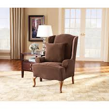 Wing Chair Slipcovers Sure Fit Stretch Pique Wing Chair Recliner Slipcover Hayneedle