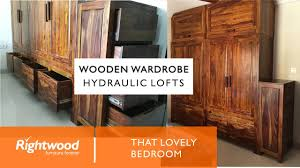 Wardrobe Furniture Hydraulic Lofts Wooden Wardrobe Almirah With Drawers At The