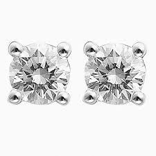 diamond earrings malaysia brilliant cut solitaire diamond stud earrings 4 prong set