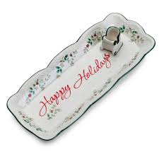 appetizer tray with sleigh toothpick holder pfaltzgraff