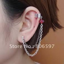 earring cuffs aliexpress buy whhec079 new arrival silver gun black chain
