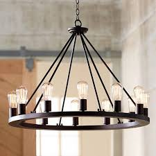 Chandelier Metal 28 Wide Black Chandelier W7307 Ls Plus