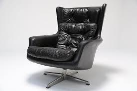 Comfortable Swivel Chair Vintage Danish Leather Highback Swivel Armchair By Kanari