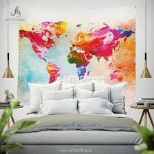world map quote wall tapestry world map watercolor inspirational world map quote wall tapestry world map watercolor inspirational quote wall hanging splashes of