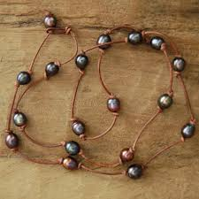 leather bead necklace images Leather and pearls bead world jpg