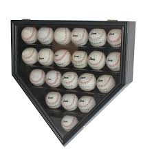 Home Plate Baseball by Amazon Com 21 Baseball Display Case Wall Cabinet Holder Shadow