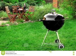Backyard And Grill by Scene Of Barbecue Grill Party On Lawn In The Backyard Stock Photo