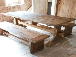 dining table reclaimed salvaged wood trestle double natural