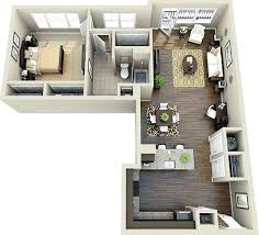 diagram of a one bedroom apartment at surrey gardens apartments
