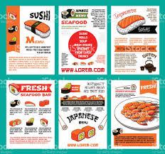 sushi menu template set for japanese food design stock vector art
