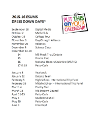 esums pto announcements schedule of dress down days for the year