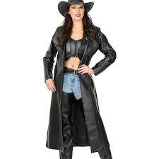 women s black leather look duster clothing