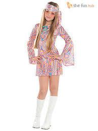 girls teen 60s 70s hippy fancy dress costume disco groovy