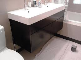 Bathroom Wall Mounted Cabinets Wide Rectangular Porcelain Drop In Sink Wooden Wall Mounted Sink