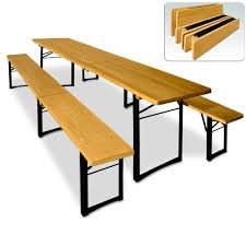 Bench Table Wooden Trestle Beer Table And Bench Set Folding Outdoor Dining