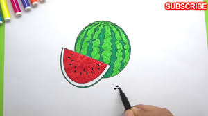 how to color watermelon fruits coloring pages for kids