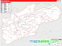 kentucky map harlan harlan county ky zip code wall map line style by marketmaps