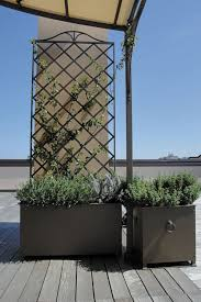 wrought iron garden pot square rectangular with trellis
