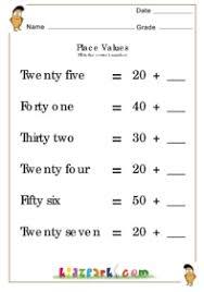 lkg number place value place value math worksheets downloadable