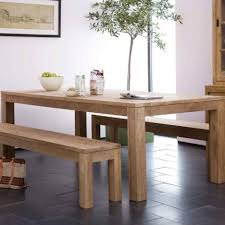 dining room simple rectangular teak wood dining table and benches