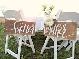 Wedding Chair Signs Better Together Wedding Chair Signs Wood Wedding Decor Hand