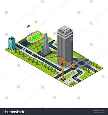 Cell Tower Map Bank Building Downtown Yellow Crane Skyscraper Stock Vector