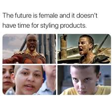 Meme Women - this meme about bald women and styling products is femmephobic af