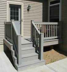 Painting Banisters Ideas Exterior Brown Outdoor Deck Stair Design Using White Railing