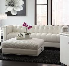 Contemporary Tufted Sofa by Chaviano Contemporary White Silver Faux Leather Wood Tufted Sofa