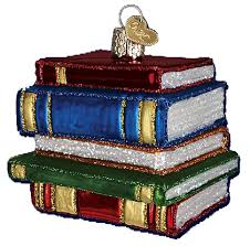 world ornaments stack of books 32112