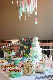 coral baby shower mint and coral shower boring table but like the idea of hanging