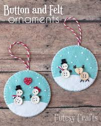 button and felt diy ornaments cutesy crafts