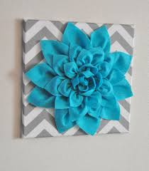 Wall Flower Decor by Wall Flower Light Turquoise Dahlia On Gray And White Chevron