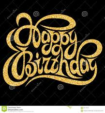 template for greeting card happy birthday with gold calligraphic