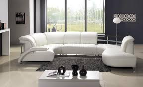 Modern Furniture Depot by White Leather Modern U Shaped Sectional Sofa W Shelves